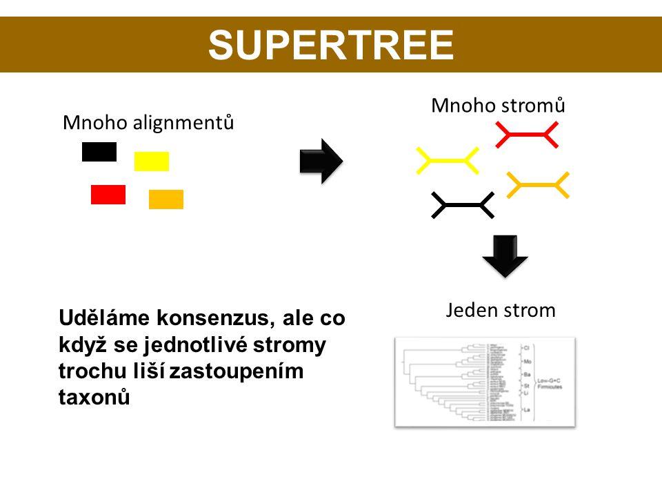 SUPERTREE Mnoho alignmentů Mnoho stromů Jeden strom Uděláme konsenzus, ale co když se jednotlivé stromy trochu liší zastoupením taxonů