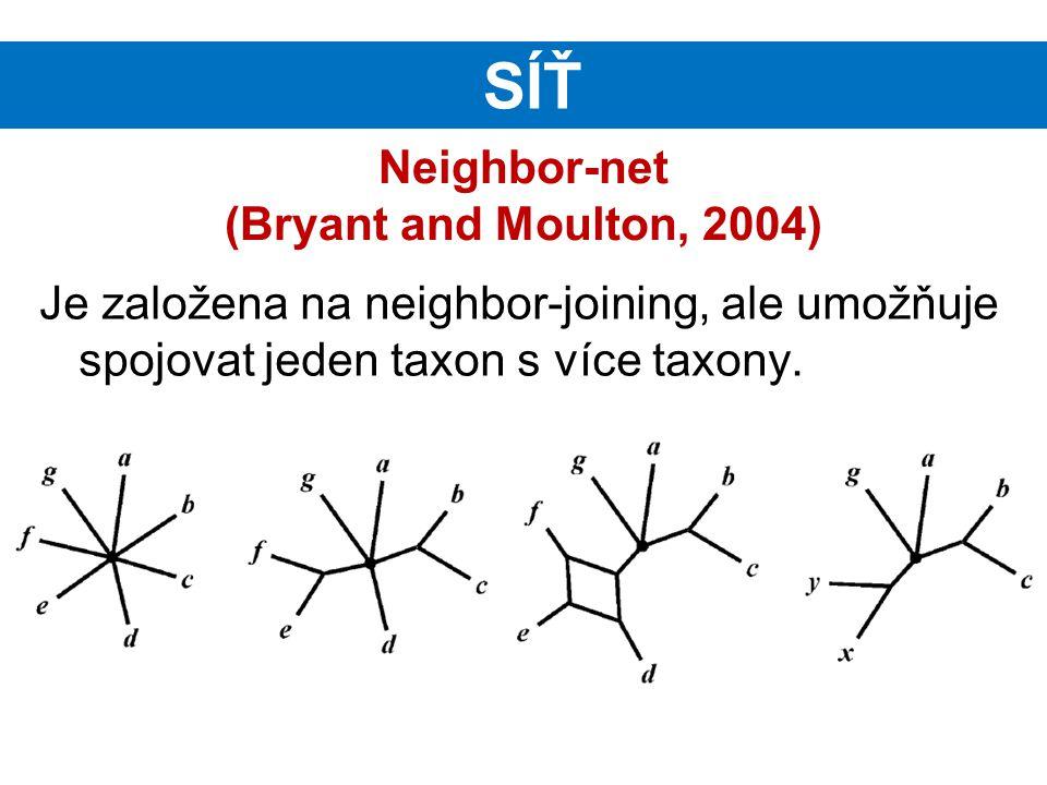Neighbor-net (Bryant and Moulton, 2004) Je založena na neighbor-joining, ale umožňuje spojovat jeden taxon s více taxony. SÍŤ
