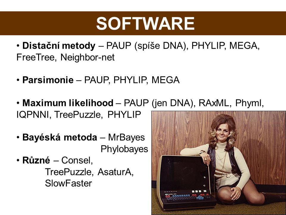 Software Distační metody – PAUP (spíše DNA), PHYLIP, MEGA, FreeTree, Neighbor-net Parsimonie – PAUP, PHYLIP, MEGA Maximum likelihood – PAUP (jen DNA),