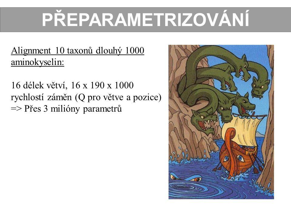 PŘEPARAMETRIZOVÁNÍ Alignment 10 taxonů dlouhý 1000 aminokyselin: 16 délek větví, 16 x 190 x 1000 rychlostí záměn (Q pro větve a pozice) => Přes 3 mili
