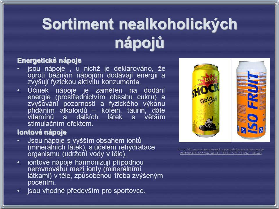 Sortiment nealkoholických nápojů Energetické nápoje jsou nápoje, u nichž je deklarováno, že oproti běžným nápojům dodávají energii a zvyšují fyzickou