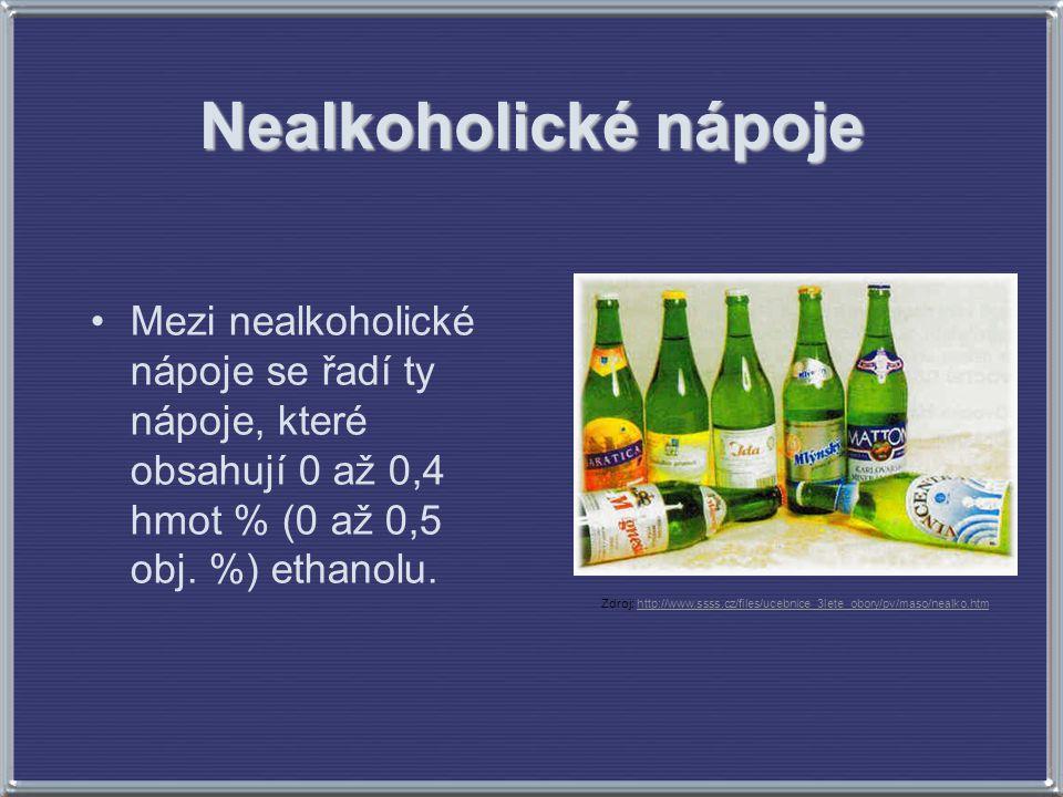 Nealkoholické nápoje Mezi nealkoholické nápoje se řadí ty nápoje, které obsahují 0 až 0,4 hmot % (0 až 0,5 obj. %) ethanolu. Zdroj: http://www.ssss.cz