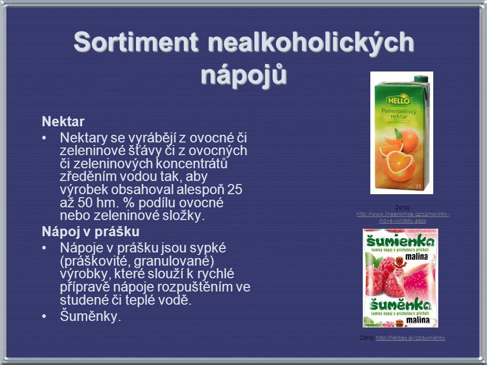 Sortiment nealkoholických nápojů Nektar Nektary se vyrábějí z ovocné či zeleninové šťávy či z ovocných či zeleninových koncentrátů zředěním vodou tak,