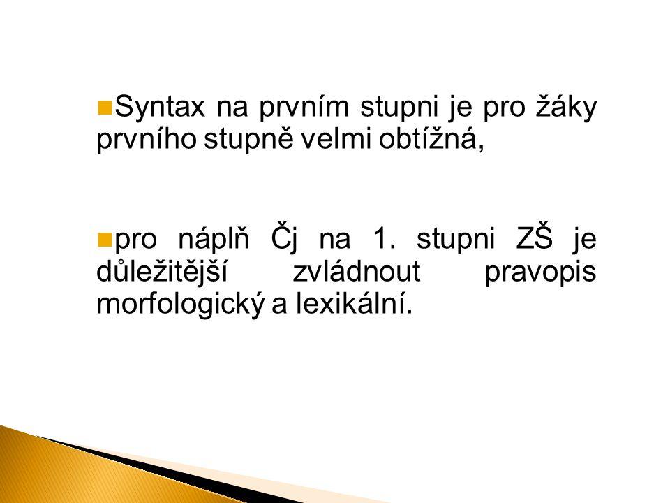 Syntax na prvním stupni je pro žáky prvního stupně velmi obtížná, pro náplň Čj na 1. stupni ZŠ je důležitější zvládnout pravopis morfologický a lexiká
