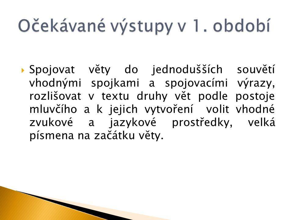  Spojovat věty do jednodušších souvětí vhodnými spojkami a spojovacími výrazy, rozlišovat v textu druhy vět podle postoje mluvčího a k jejich vytvoře