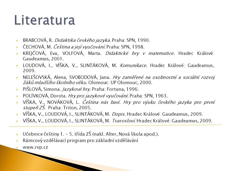  BRABCOVÁ, R. Didaktika českého jazyka. Praha: SPN, 1990.  ČECHOVÁ, M. Čeština a její vyučování. Praha: SPN, 1998.  KREJČOVÁ, Eva, VOLFOVÁ, Marta.