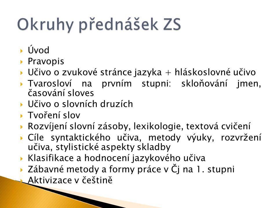  Slovní kopaná  Zaměření: lexikologie, slovní druhy.