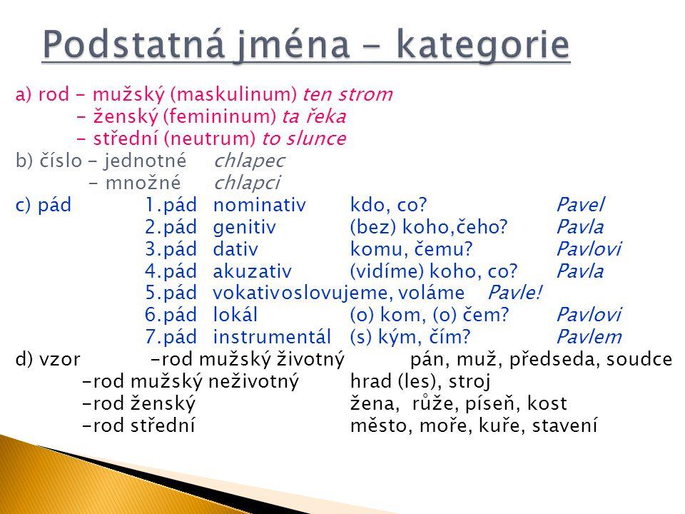 a) rod - mužský (maskulinum) ten strom - ženský (femininum) ta řeka - střední (neutrum) to slunce b) číslo - jednotnéchlapec - množnéchlapci c) pád1.p