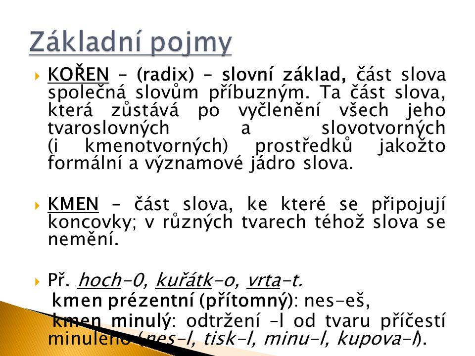  KOŘEN – (radix) – slovní základ, část slova společná slovům příbuzným. Ta část slova, která zůstává po vyčlenění všech jeho tvaroslovných a slovotvo