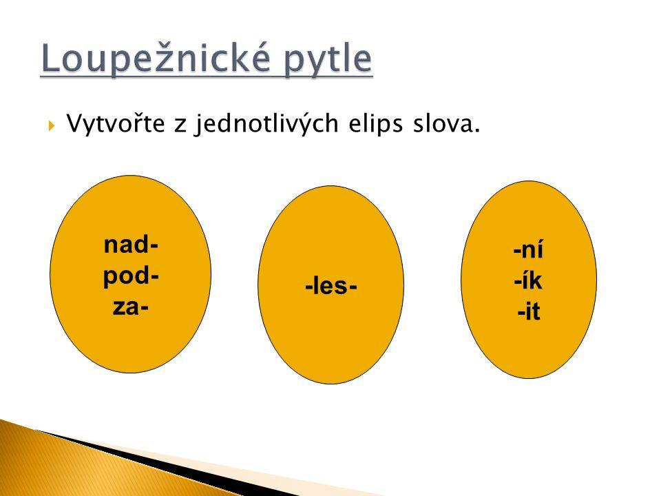  Vytvořte z jednotlivých elips slova. nad- pod- za- -les- -ní -ík -it