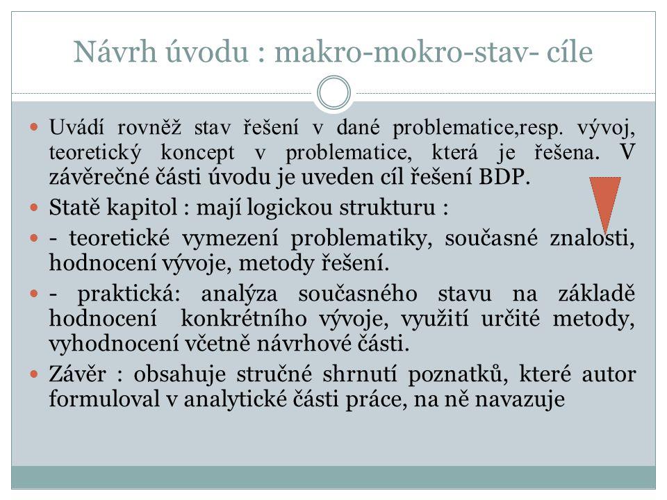 Návrh úvodu : makro-mokro-stav- cíle Uvádí rovněž stav řešení v dané problematice,resp.
