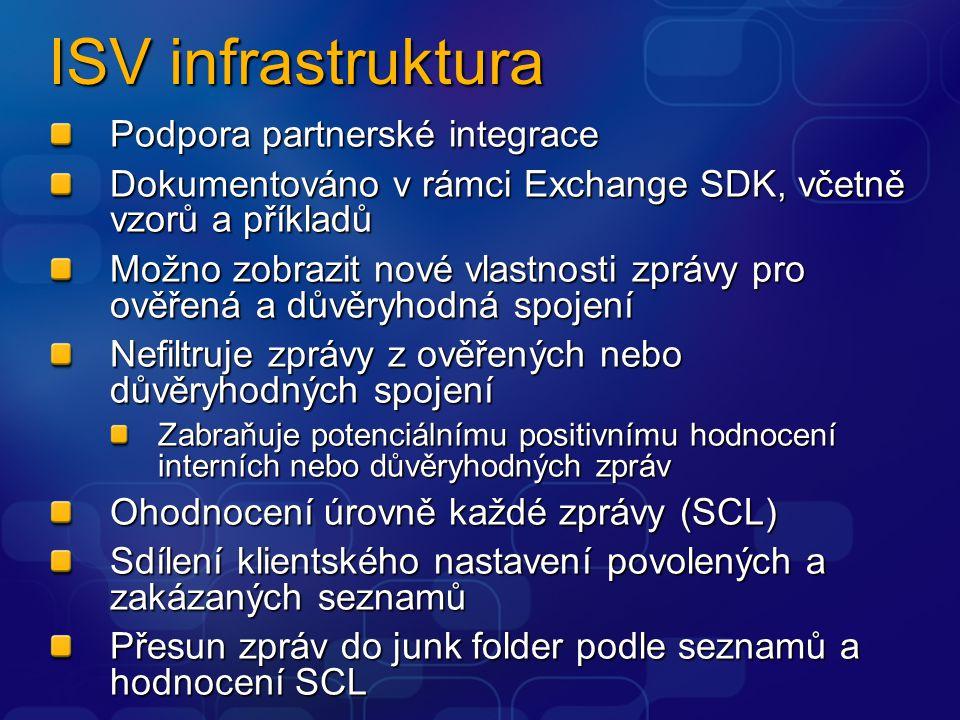 ISV infrastruktura Podpora partnerské integrace Dokumentováno v rámci Exchange SDK, včetně vzorů a příkladů Možno zobrazit nové vlastnosti zprávy pro ověřená a důvěryhodná spojení Nefiltruje zprávy z ověřených nebo důvěryhodných spojení Zabraňuje potenciálnímu positivnímu hodnocení interních nebo důvěryhodných zpráv Ohodnocení úrovně každé zprávy (SCL) Sdílení klientského nastavení povolených a zakázaných seznamů Přesun zpráv do junk folder podle seznamů a hodnocení SCL