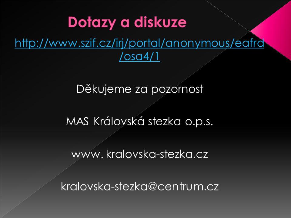 http://www.szif.cz/irj/portal/anonymous/eafrd /osa4/1 Děkujeme za pozornost MAS Královská stezka o.p.s.