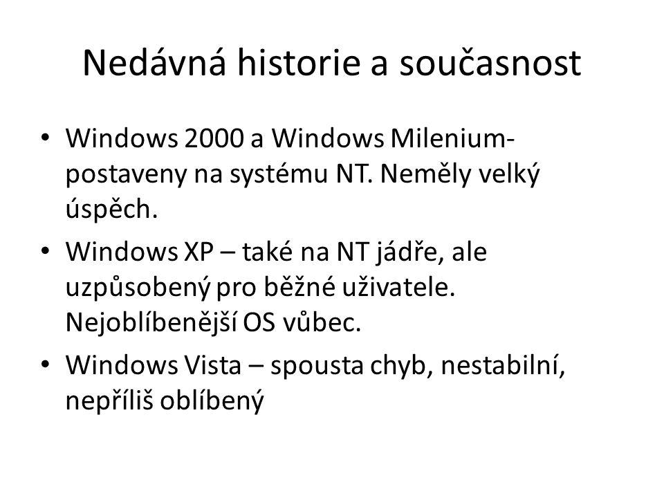 Nedávná historie a současnost Windows 2000 a Windows Milenium- postaveny na systému NT. Neměly velký úspěch. Windows XP – také na NT jádře, ale uzpůso