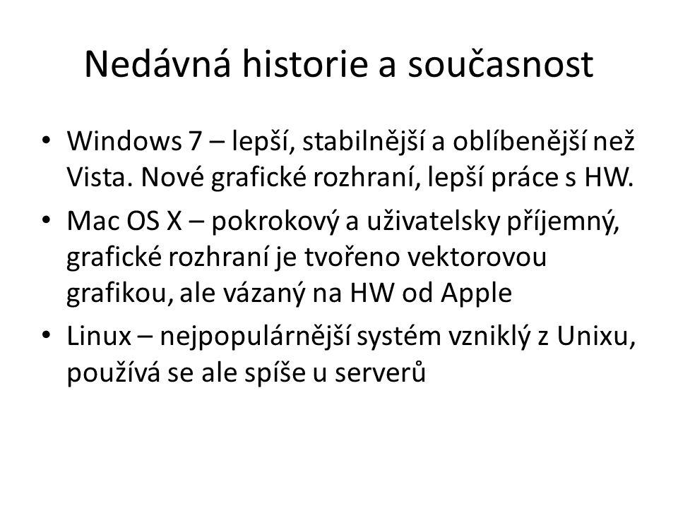 Nedávná historie a současnost Windows 7 – lepší, stabilnější a oblíbenější než Vista. Nové grafické rozhraní, lepší práce s HW. Mac OS X – pokrokový a