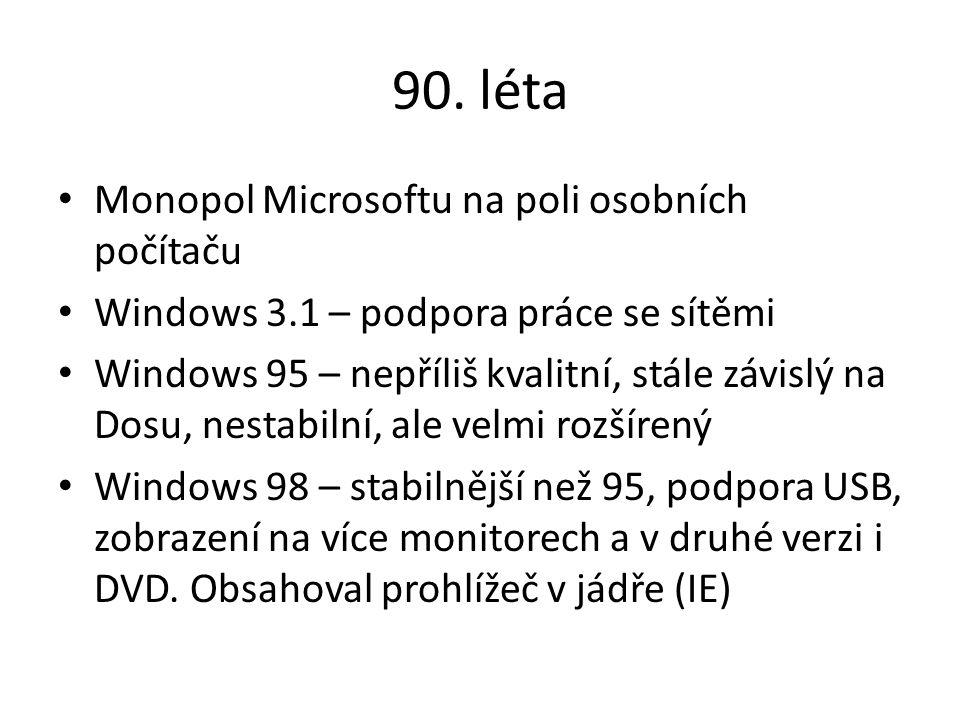 90. léta Monopol Microsoftu na poli osobních počítaču Windows 3.1 – podpora práce se sítěmi Windows 95 – nepříliš kvalitní, stále závislý na Dosu, nes