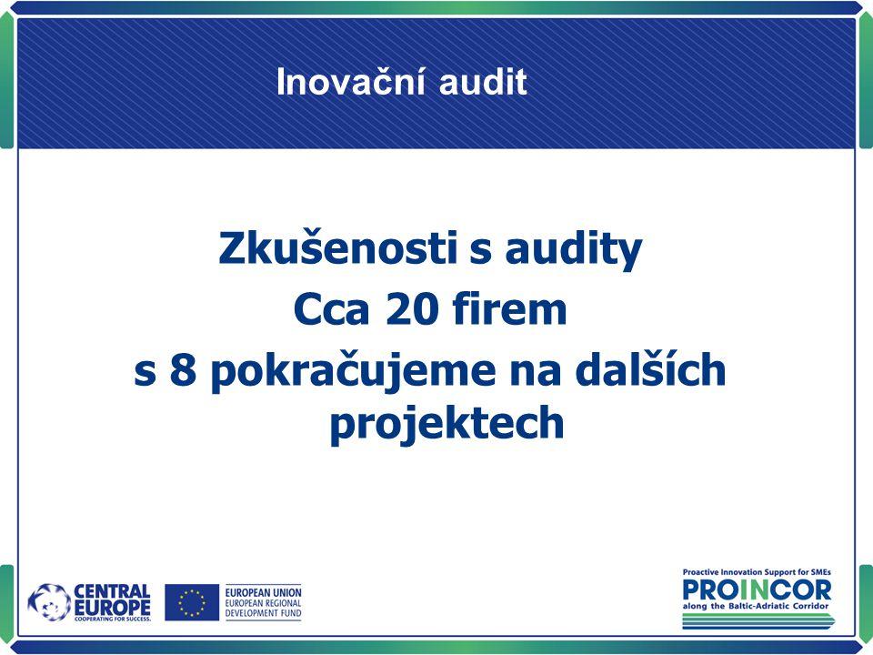 Inovační audit Zkušenosti s audity Cca 20 firem s 8 pokračujeme na dalších projektech