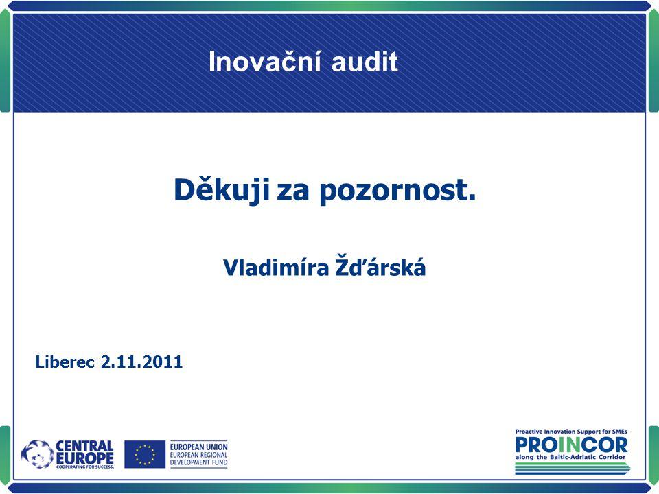 Inovační audit Děkuji za pozornost. Vladimíra Žďárská Liberec 2.11.2011