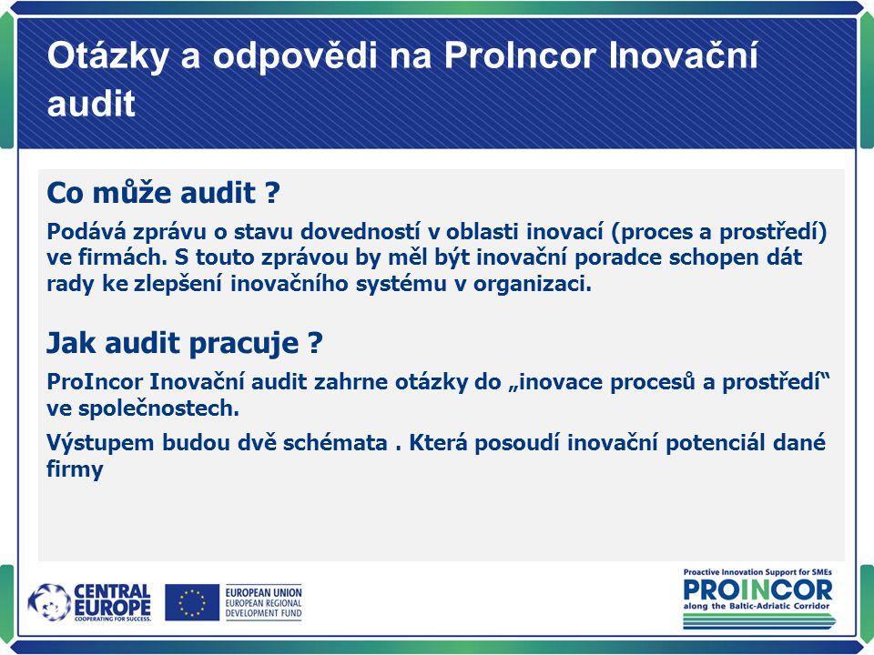 Otázky a odpovědi na Prolncor Inovační audit Co může audit ? Podává zprávu o stavu dovedností v oblasti inovací (proces a prostředí) ve firmách. S tou