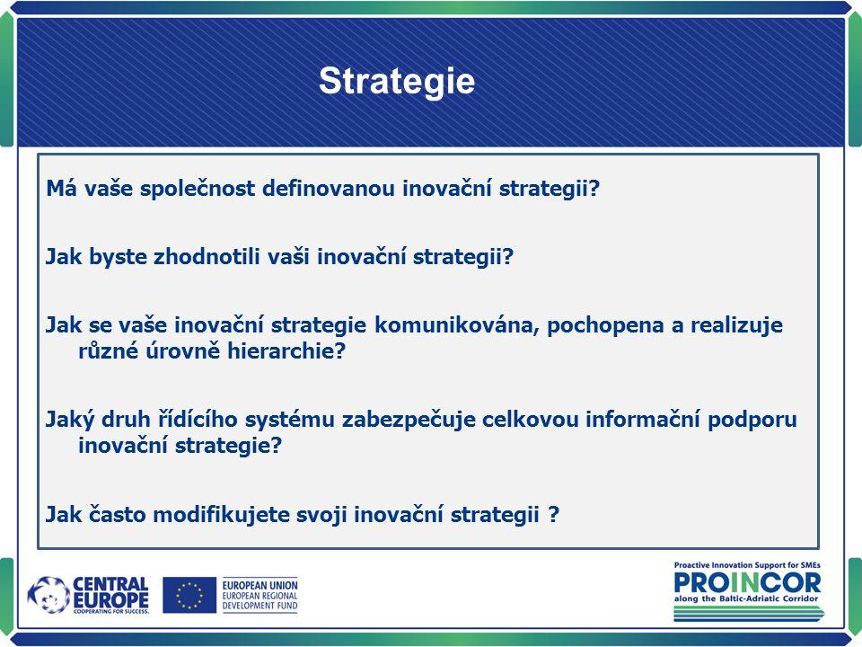 Strategie Má vaše společnost definovanou inovační strategii? Jak byste zhodnotili vaši inovační strategii? Jak se vaše inovační strategie komunikována