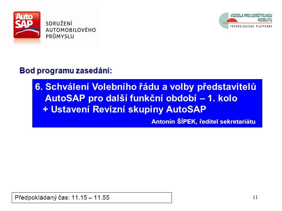 10 Bod programu zasedání: Předpokládaný čas: 11.15 – 11.55 5.