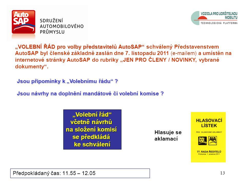 12 Předpokládaný čas: 11.55 – 12.05 Oprávnění k volbě představitelů AutoSAP má každý řádný člen Rady ředitelů AutoSAP.