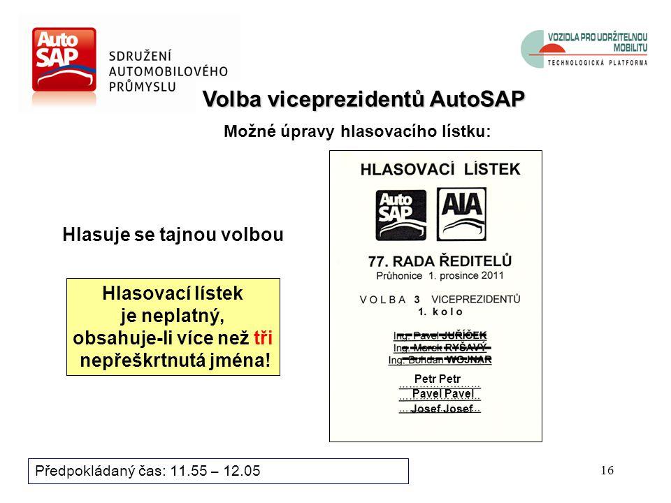 15 Předpokládaný čas: 11.55 – 12.05 Volba prezidenta AutoSAP – 1.kolo Možné úpravy hlasovacího lístku: Petr Pavel ----------- Hlasovací lístek je neplatný, obsahuje-li více než jedno nepřeškrtnuté jméno .