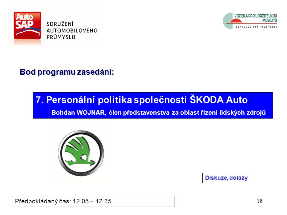 17 Předpokládaný čas: 11.55 – 12.05 Hlasuje se aklamací: Navrhuje se následující složení Revizní skupiny AutoSAP (pro období 2012 až 2013): Tomáš HRDLIČKA, TÜV SÜD Czech s.r.o.