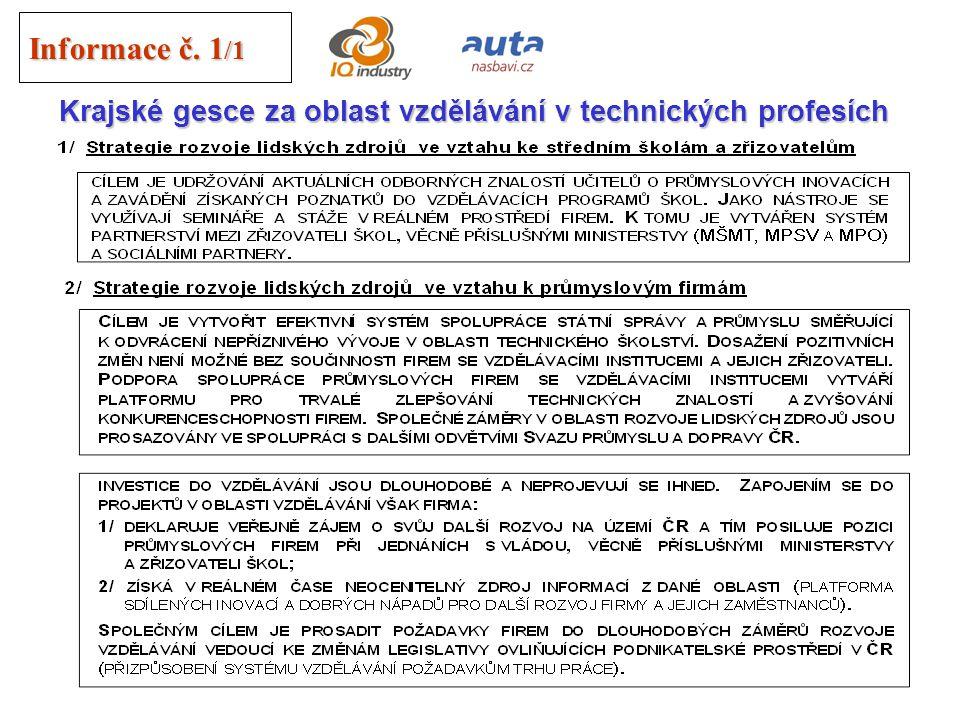 26 Informace č. 1 /1 Krajské gesce za oblast vzdělávání v technických profesích Pro posílení vlivu průmyslových firem v oblasti vzdělávání v technický