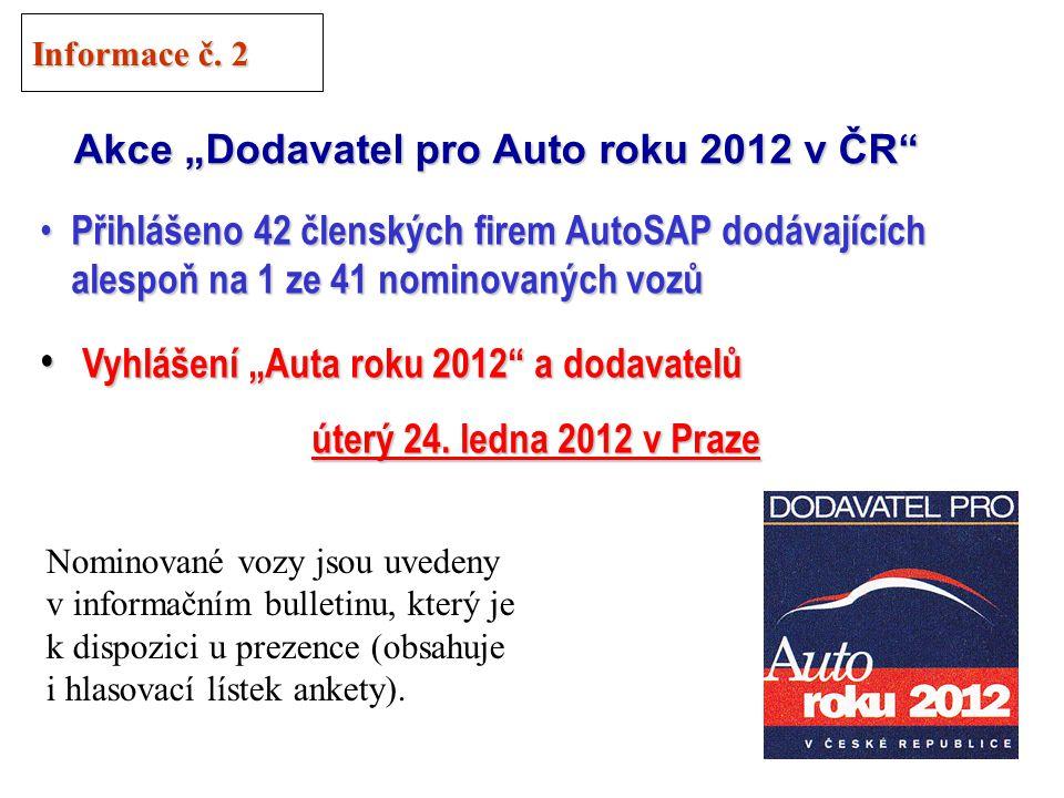 """29 """"Auto roku 2012 v ČR AutoSAP je spoluvyhlašovatelem ankety AutoSAP je spoluvyhlašovatelem ankety Zásady stejné jako v loňském ročníku: Zásady stejné jako v loňském ročníku: Porota = motorističtí novináři + odborníci (2/3) Porota = motorističtí novináři + odborníci (2/3) Hlasuje i veřejnost (1/3) Hlasuje i veřejnost (1/3) Vozy rozděleny do 5 kategorií Vozy rozděleny do 5 kategorií Informace č."""