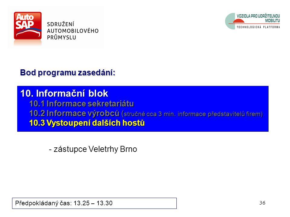 35 Předpokládaný čas: 13.10 – 13.25 10. Informační blok 10.1 Informace sekretariátu 10.1 Informace sekretariátu 10.2 Informace výrobců ( stručné cca 3