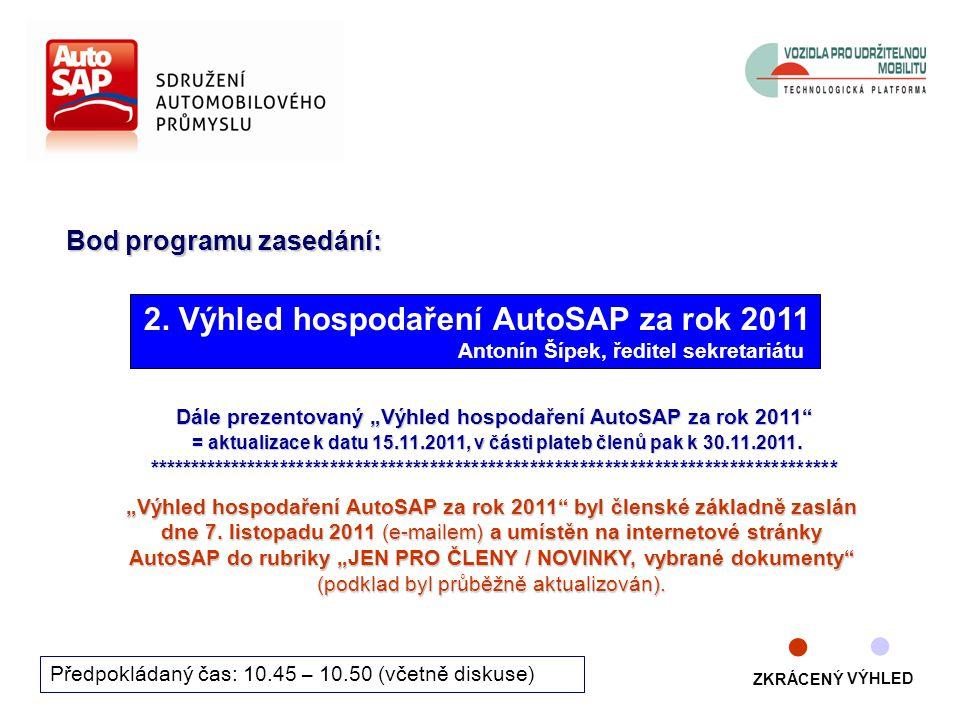 """4 Bod programu zasedání: Předpokládaný čas: 10.45 – 10.50 (včetně diskuse) Dále prezentovaný """"Výhled hospodaření AutoSAP za rok 2011 = aktualizace k datu 15.11.2011, v části plateb členů pak k 30.11.2011."""