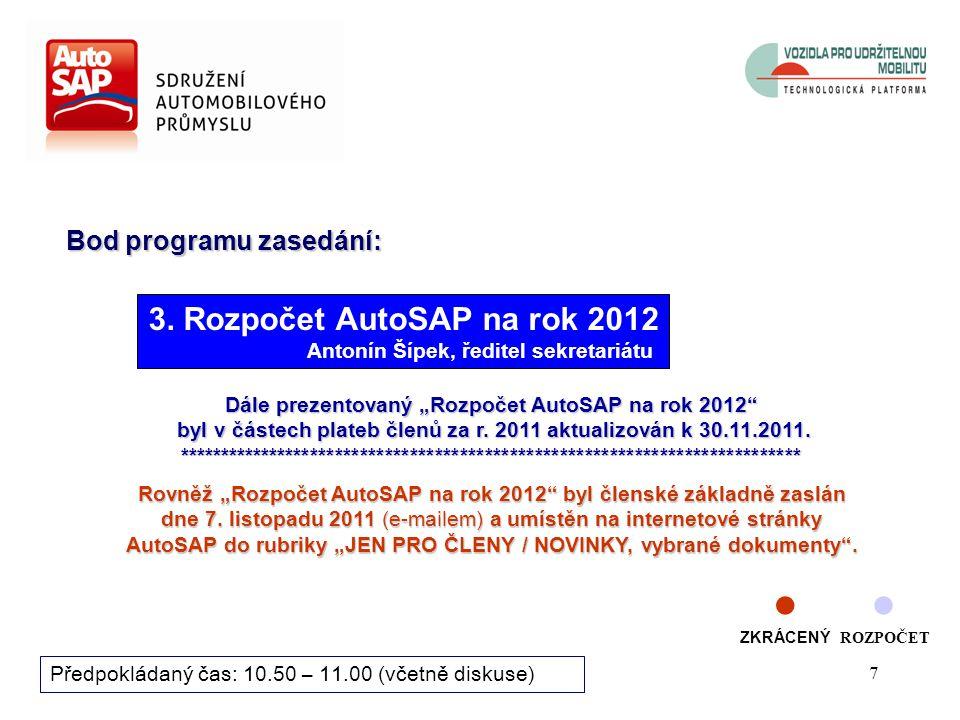 6 Diskuze, dotazy Hlasuje se aklamací Návrh usnesení Rady ředitelů AutoSAP k VÝHLEDU hospodaření AutoSAP za rok 2011: Rada ředitelů Sdružení automobil