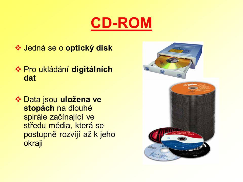 CD-ROM  Jedná se o optický disk  Pro ukládání digitálních dat  Data jsou uložena ve stopách na dlouhé spirále začínající ve středu média, která se