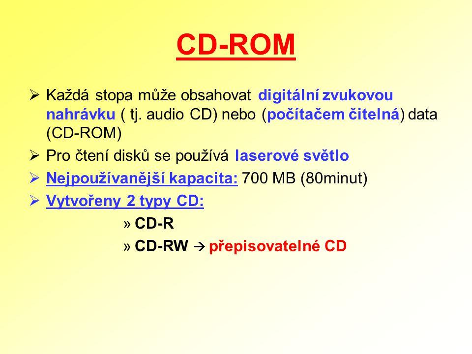 CD-ROM  Každá stopa může obsahovat digitální zvukovou nahrávku ( tj. audio CD) nebo (počítačem čitelná) data (CD-ROM)  Pro čtení disků se používá la