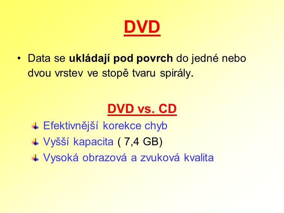 DVD Data se ukládají pod povrch do jedné nebo dvou vrstev ve stopě tvaru spirály. DVD vs. CD Efektivnější korekce chyb Vyšší kapacita ( 7,4 GB) Vysoká