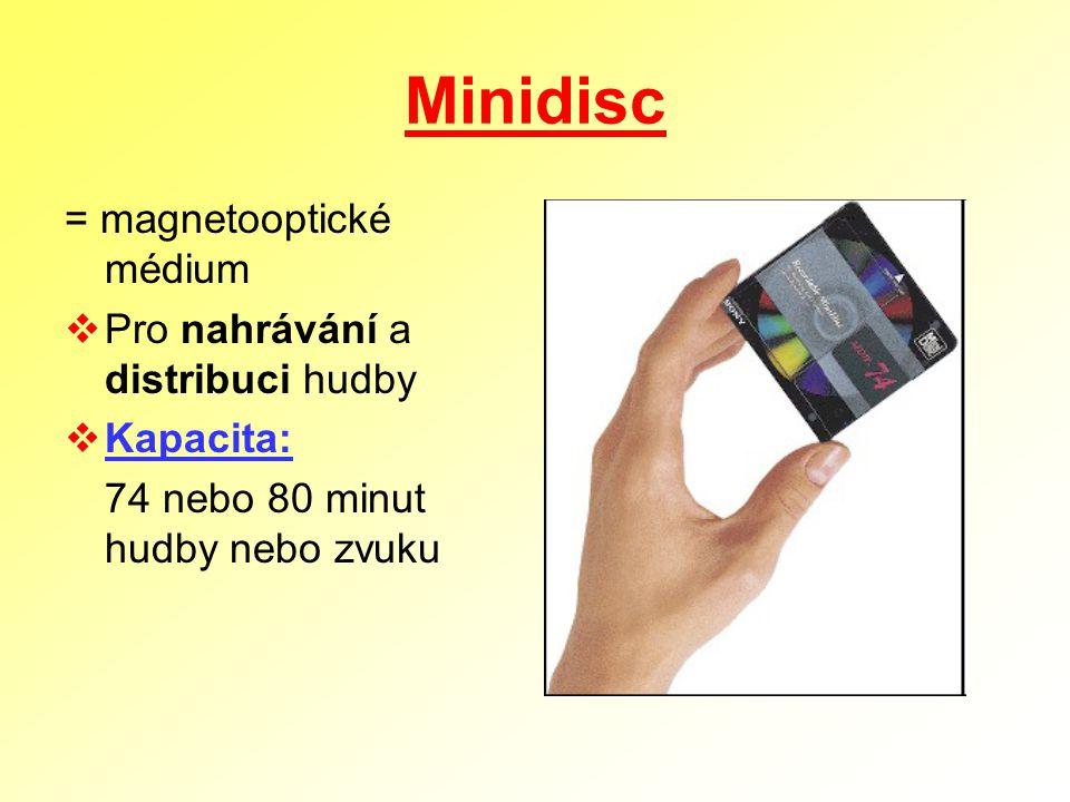 Minidisc = magnetooptické médium  Pro nahrávání a distribuci hudby  Kapacita: 74 nebo 80 minut hudby nebo zvuku