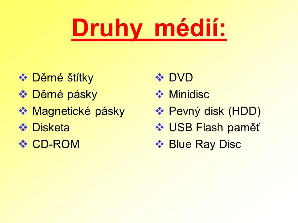 Druhy médií:  Děrné štítky  Děrné pásky  Magnetické pásky  Disketa  CD-ROM  DVD  Minidisc  Pevný disk (HDD)  USB Flash paměť  Blue Ray Disc
