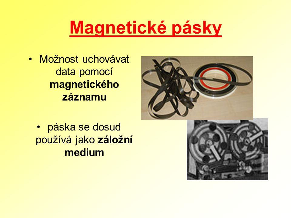 Magnetické pásky Možnost uchovávat data pomocí magnetického záznamu páska se dosud používá jako záložní medium