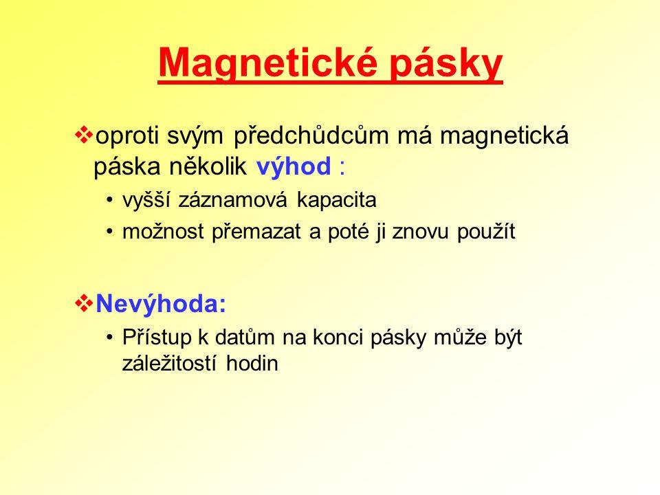 Magnetické pásky  oproti svým předchůdcům má magnetická páska několik výhod : vyšší záznamová kapacita možnost přemazat a poté ji znovu použít  Nevý