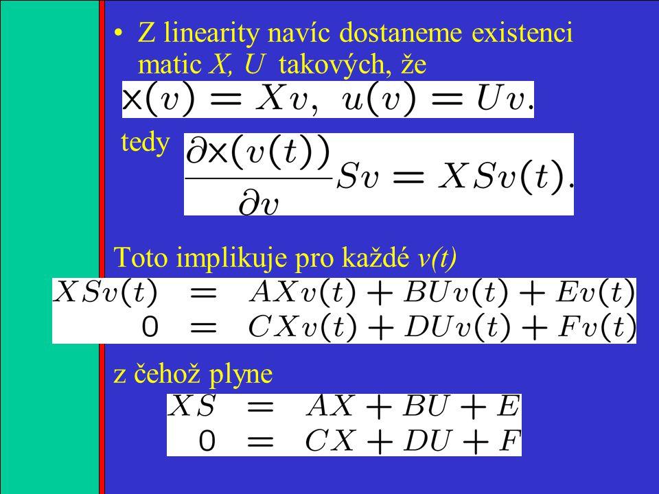 1.2.3.4. Z linearity navíc dostaneme existenci matic X, U takových, že tedy Toto implikuje pro každé v(t) z čehož plyne