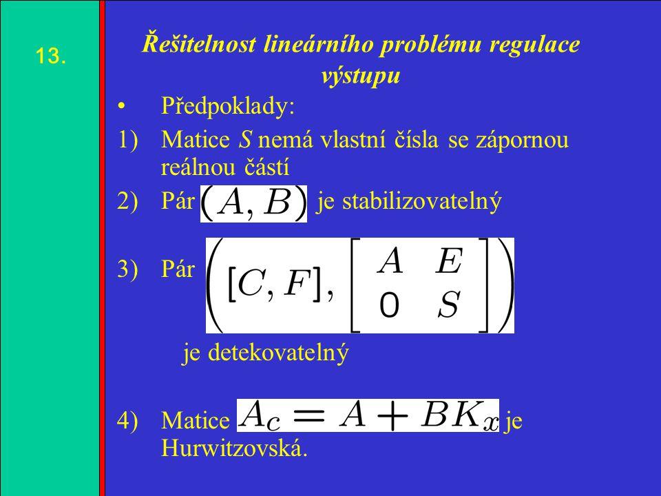 1.2.3.4. Řešitelnost lineárního problému regulace výstupu Předpoklady: 1)Matice S nemá vlastní čísla se zápornou reálnou částí 2)Pár je stabilizovatel