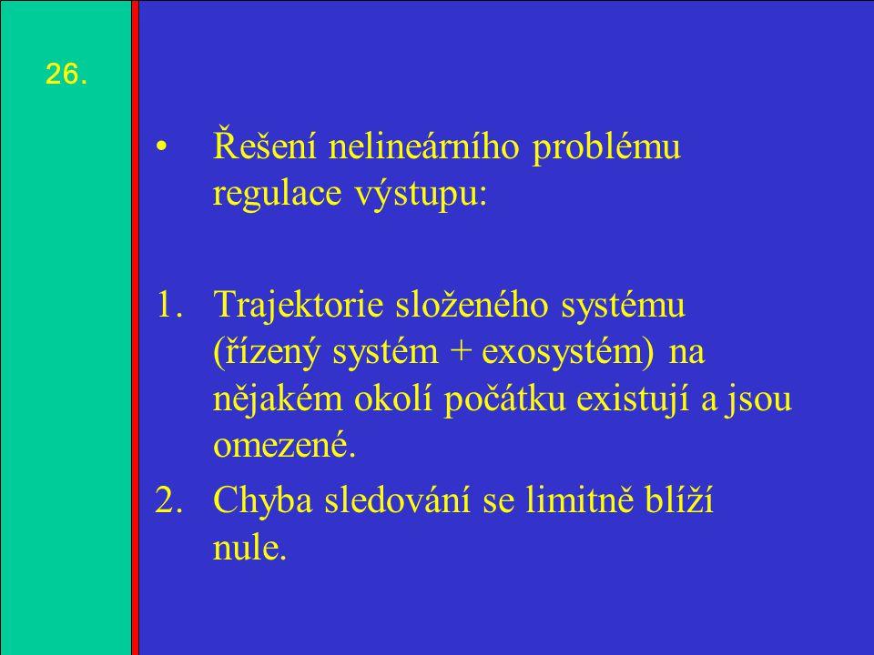 1.2.3.4. Řešení nelineárního problému regulace výstupu: 1.Trajektorie složeného systému (řízený systém + exosystém) na nějakém okolí počátku existují