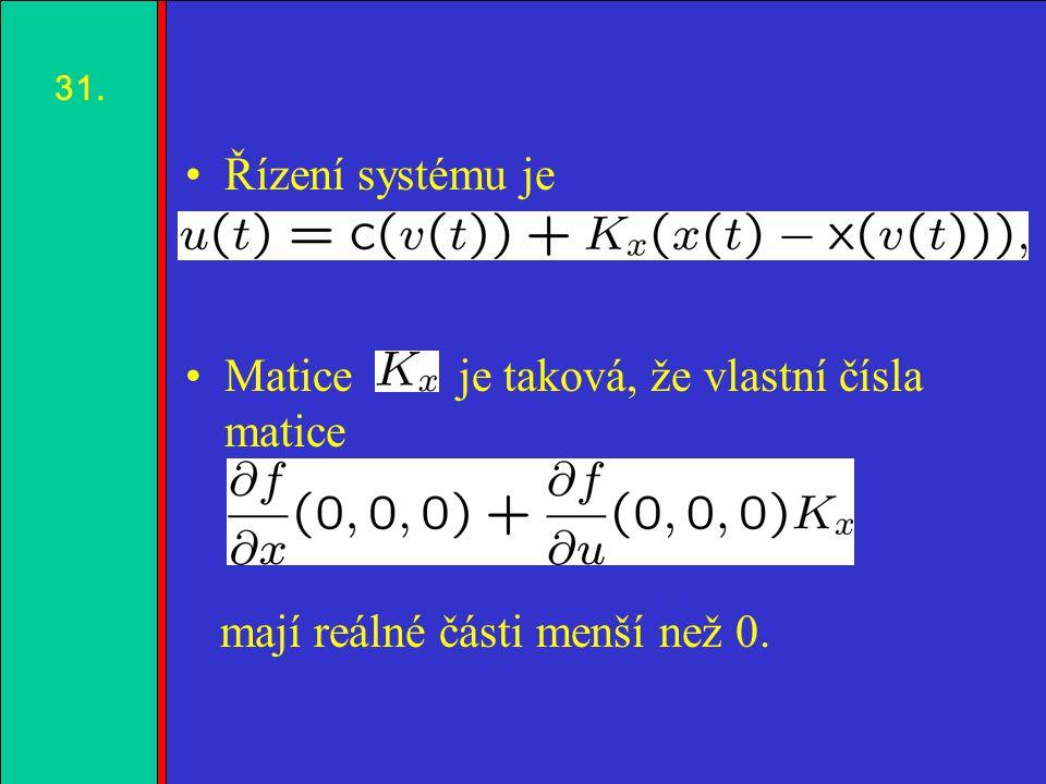 1.2.3.4. Řízení systému je Matice je taková, že vlastní čísla matice mají reálné části menší než 0.