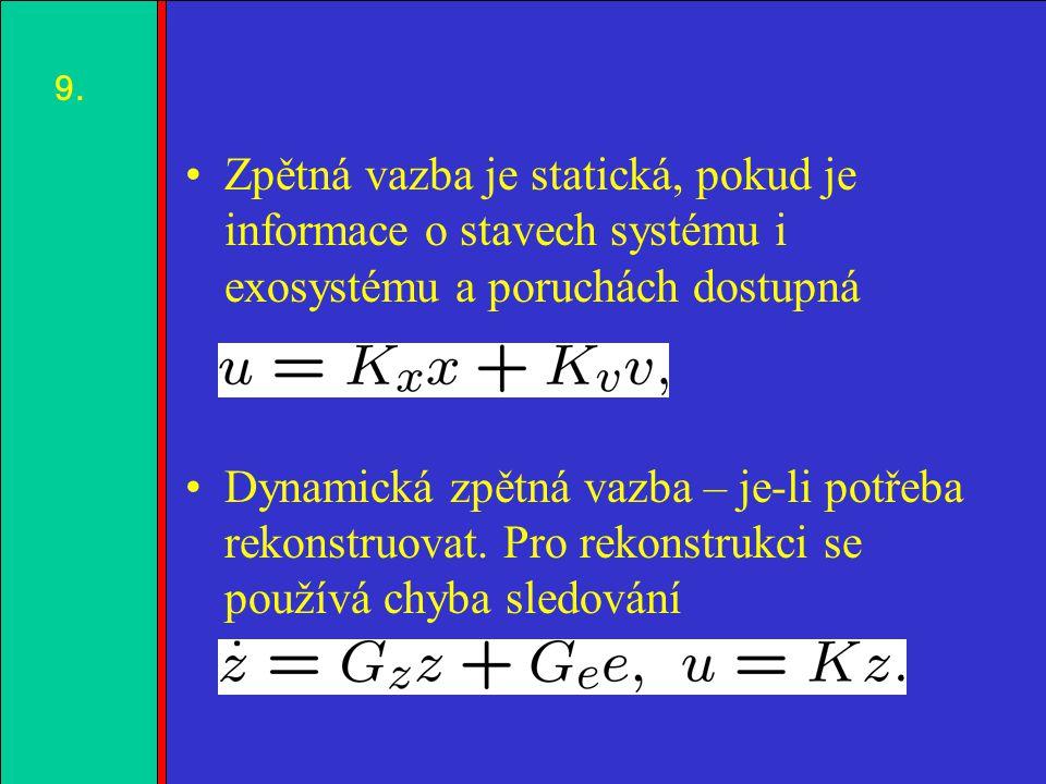 1.2.3.4. Zpětná vazba je statická, pokud je informace o stavech systému i exosystému a poruchách dostupná Dynamická zpětná vazba – je-li potřeba rekon