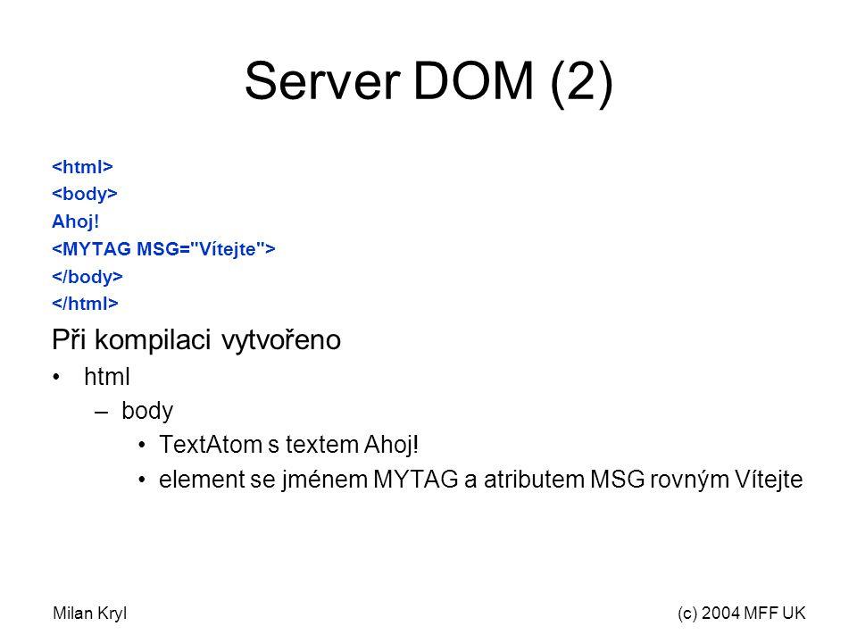 Milan Kryl(c) 2004 MFF UK Server DOM (2) Ahoj.