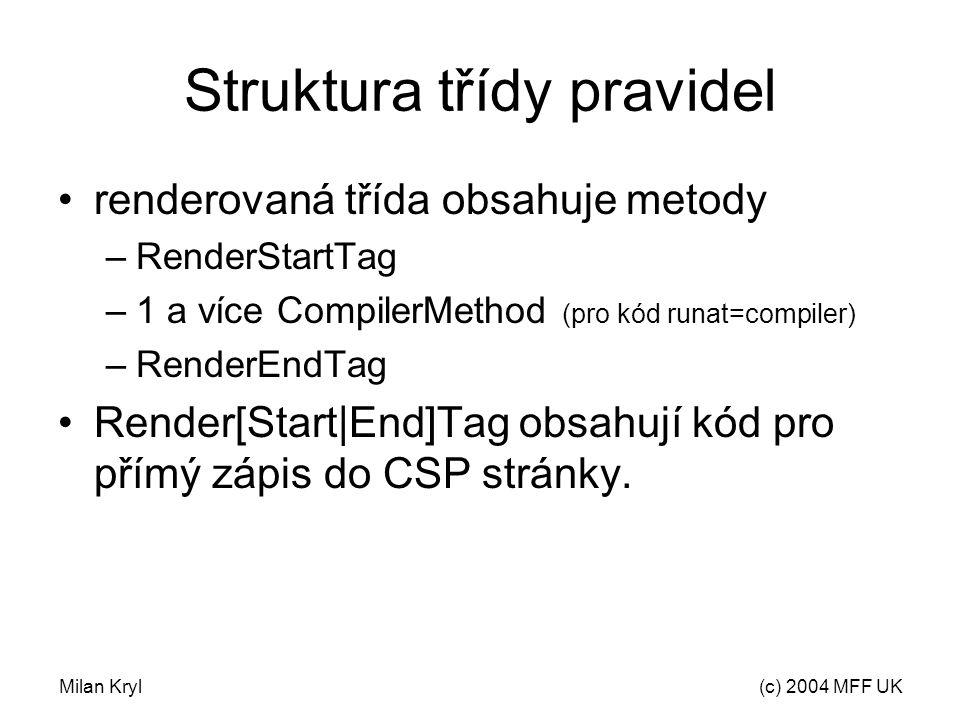 Milan Kryl(c) 2004 MFF UK Struktura třídy pravidel renderovaná třída obsahuje metody –RenderStartTag –1 a více CompilerMethod (pro kód runat=compiler) –RenderEndTag Render[Start|End]Tag obsahují kód pro přímý zápis do CSP stránky.