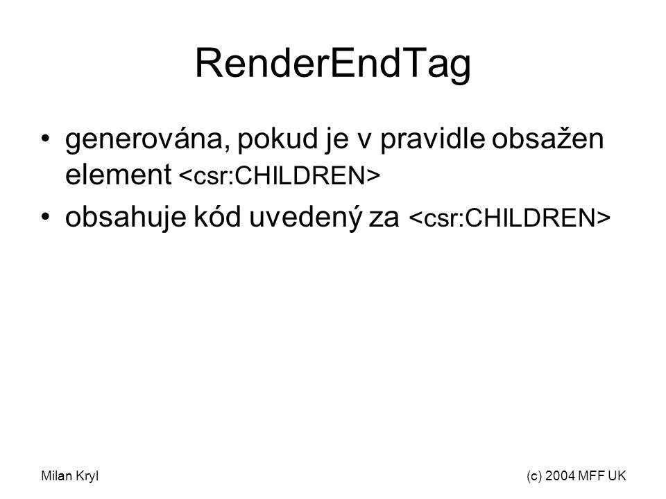 Milan Kryl(c) 2004 MFF UK RenderEndTag generována, pokud je v pravidle obsažen element obsahuje kód uvedený za