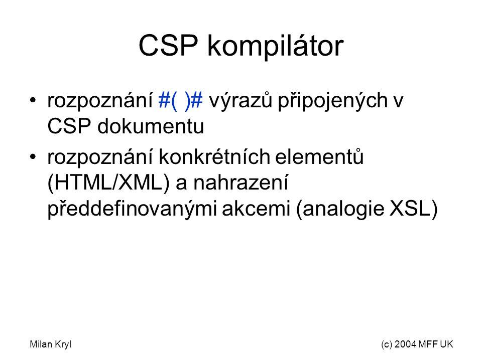 Milan Kryl(c) 2004 MFF UK CSP kompilátor rozpoznání #( )# výrazů připojených v CSP dokumentu rozpoznání konkrétních elementů (HTML/XML) a nahrazení předdefinovanými akcemi (analogie XSL)