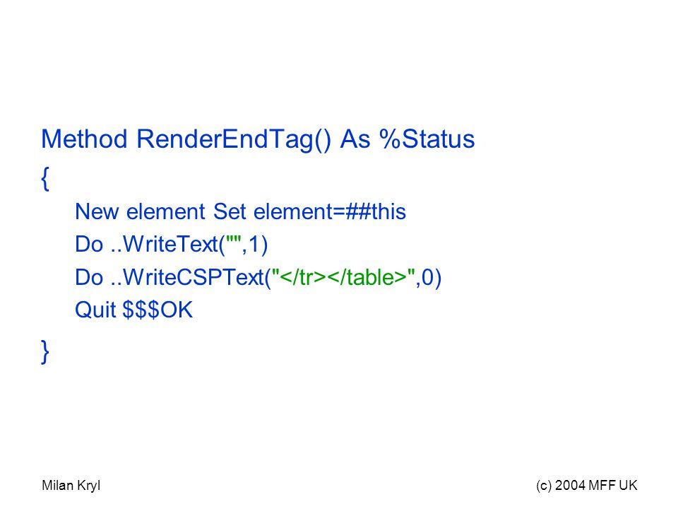 Milan Kryl(c) 2004 MFF UK Method RenderEndTag() As %Status { New element Set element=##this Do..WriteText( ,1) Do..WriteCSPText( ,0) Quit $$$OK }